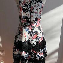 Parker Floral Print Halter Dress Embroidered Lace Size 4 Photo