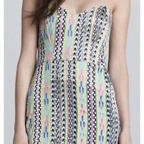 Parker Gray Multi-Color Bead Embellish Geometric Silk Corset Mini Dress Size Xs Photo