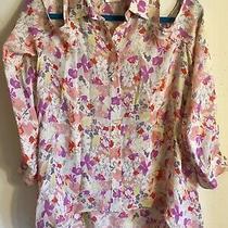Parker Hi-Lo Cold Shoulder Floral Blouse Size Large Euc Photo