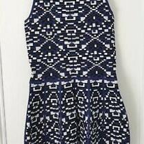 Parker Knit Dress Blue Black White Tribal Geometric Design. Size Small Photo