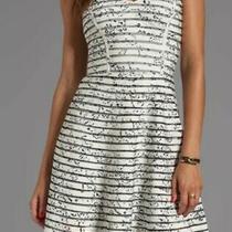 Parker Molly Graphite Clove Strapless 100% Silk Striped Black White Mini Dress Photo