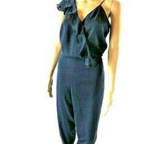 Parker Navy Blue Silk Ruffle Jumpsuit Photo