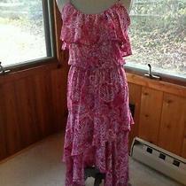 Parker Parsley Print Strap Ruffle Asymmetrical Midi Dress Size S 400 Photo