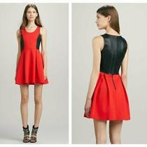 Parker Red & Black Leather Olivia Fit & Flare Dress Sz S Photo