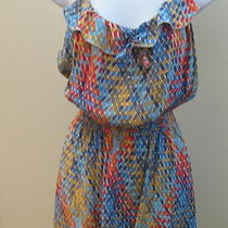 Parker Ruffle Front Geometric Print 100% Silk Dress- Size S Photo