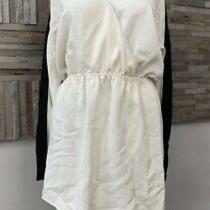 Parker - Silk Wrap Effect Long Sleeve Mini Dress White/black - Size Small - Nwt Photo