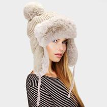 Parker Sparrow Beige Faux Fur Cable Knit Pom Pom Trapper Hat Photo