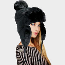 Parker Sparrow Black Faux Fur Cable Knit Pom Pom Trapper Hat Photo