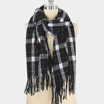Parker Sparrow Black Plaid Check Tassel Oblong Soft Scarf Photo