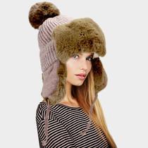 Parker Sparrow Chocolate Faux Fur Cable Knit Pom Pom Trapper Hat Photo