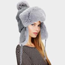 Parker Sparrow Gray Faux Fur Cable Knit Pom Pom Trapper Hat Photo