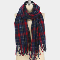Parker Sparrow Navy Plaid Check Tassel Oblong Soft Scarf Photo