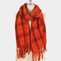 Parker Sparrow Rust Plaid Check Tassel Oblong Soft Scarf Photo