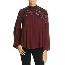 Parker Thatch Womens Tahiti  Red Crinkled Peasant Top Blouse S Bhfo 5838 Photo