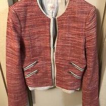 Parker Tweed Madison Leather Trim Blazer Sz M Photo