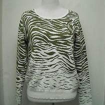 Parker White and Gold Metallic Zebra Stripe Cropped Sweater S Photo