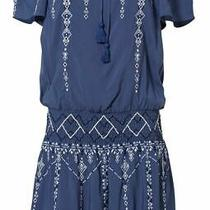 Parker Women Dress Blue Size Medium M Embroidered Smocked Drop Waist 288- 049 Photo