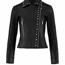 Parker Women Jacket Black Size Large L Moto Stud-Embellished Leather 715- 146 Photo