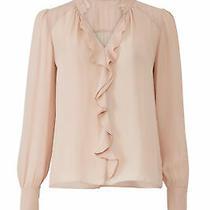 Parker Women's Blouse Blush Pink Size Xxl Cascade Ruffle v-Neck Silk 238- 909 Photo