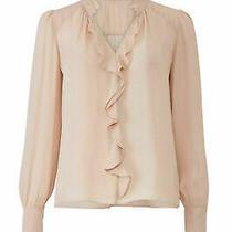 Parker Women's Blouse Pink Size Medium M Cascade Ruffle v-Neck Silk 238- 772 Photo