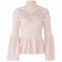 Parker Women's Blouse Pink Size Small S Bell-Sleeve Mock-Neck Lace 178- 183 Photo