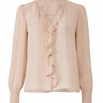 Parker Women's Blouse Pink Size Small S Cascade Ruffle v-Neck Silk 238- 034 Photo