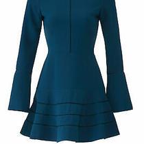 Parker Women's Dress Blue Size 4 a-Line Crochet-Inset Crepe High-Neck 318- 061 Photo