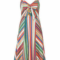 Parker Women's Dress Green Red Size 2 Sheath Bow-Detail Striped 290- 236 Photo