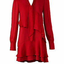 Parker Women's Dress Red Size Small S Tiered Shift Ruffle Tie Neck 415- 343 Photo