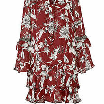 Parker Women's Dress Red Size Xs Sheath Floral Printed Ruffle Tied 308- 769 Photo