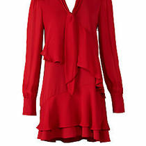 Parker Women's Dress Red Size Xs Sheath Tie-Neck Ruffle Solid  415- 471 Photo