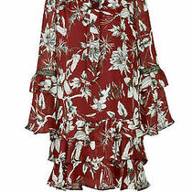 Parker Women's Dress Red Small S Chiffon Shift Floral Print Tie-Neck 308- 460 Photo