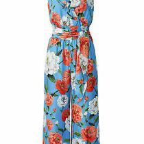 Parker Women's Jumpsuit Blue Floral 14 v-Neck Smocked Waist-Tie Silk 378- 379 Photo