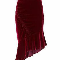 Parker Women's Skirt Purple Size 2 Asymmetrical Ruffle Hem Velvet 238- 181 Photo