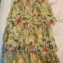 Parker Womens Yellow Floral Tiered Dress - Spring Sangria Xs Silk 298 Photo