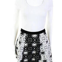 Parker Womens a-Line Above Knee Casual Skirt Black White Size Small Photo