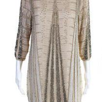 Parker Womens Beaded Short Sleeve Shift Dress Beige Silk Size 4 Photo