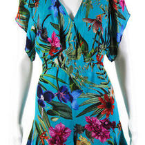 Parker Womens Blue Floral Bradley Romper Blue Print Size 2 11191680 Photo