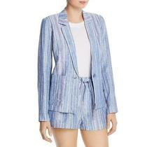 Parker Womens Daren Blue Collared Striped One-Button Jacket Blazer S Bhfo 9178 Photo
