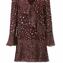 Parker Womens Dress Red Size Small S Shift Cheetah Print Ruffle Silk 398- 056 Photo
