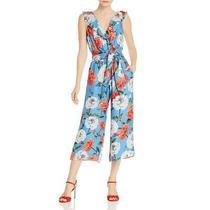 Parker Womens Elara  Blue Silk Floral Print Tie-Front Jumpsuit 0 Bhfo 8831 Photo