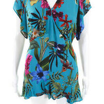 Parker Womens Floral Ruffle Bradley v Neck Romper Silk Blue Size 0 11191708 Photo