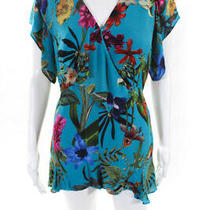 Parker Womens Floral v Neck Ruffle Bradley Romper Blue Silk Size 14 11191730 Photo