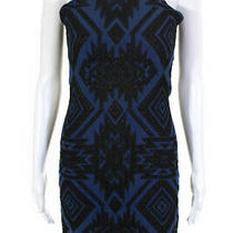 Parker Womens Jaden Geometric Mini Sheath Dress Black Blue Size Small 10246021 Photo