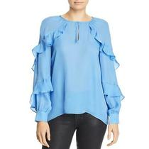 Parker Womens Julian Blue Silk Blend Split Neck Shirt Blouse Top M Bhfo 4870 Photo