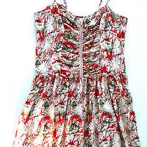 Parker Womens M Zip Front Floral Print Silk Corset Dress Elastic Ruched Back New Photo