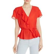 Parker Womens Red Silk Blend Ruffled Cinched Blouse Top S Bhfo 2815 Photo