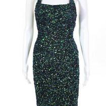 Parker Womens Sequin Saga Sheath Dress Blue Green Size 4 11533857 Photo