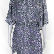 Parker Womens Short Sleeve Crew Neck Floral Mini Dress Purple White Size M Photo