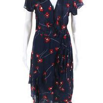 Parker Womens Short Sleeve Verity Floral Dress Blue Print Size Medium 11384843 Photo